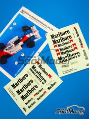 Reji Model: Decals 1/20 scale - McLaren Honda MP4/4 and MP4/5 Marlboro #11, 12 - Alain Prost (FR), Ayrton Senna (BR) - World Championship 1988 - for Tamiya kits