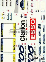 Reji Model: Decals 1/24 scale - Peugeot 206 WRC Esso Ultron Clarion  - Timo Rautiainen (FI) + Marcus Grönholm (FI) - Catalunya Costa Dorada Rally 2000 - for Tamiya kit TAM24267