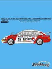 Reji Model: Marking / livery 1/24 scale - Ford Sierra 500 RS Marlboro #15 - Carlos Sainz (ES) + Antonio Boto (ES) - Tour de Corse 1987 - photo-etched parts, resin parts, water slide decals and assembly instructions - for Tamiya references TAM24080, 24080, TAM24081 and 24081