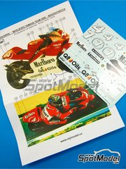 Reji Model: Marking / livery 1/12 scale - Yamaha YZR500 OWK6 Marlboro #4, 7 - Max Biaggi (IT), Carlos Checa (ES) - Motorcycle World Championship 2000 - water slide decals and assembly instructions - for Tamiya references TAM14076, 14076, TAM14078 and 14078