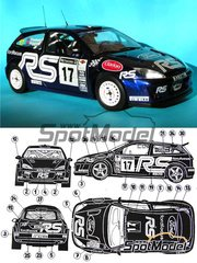 Reji Model: Decals 1/24 scale - Ford Focus WRC Clarion #17 - Mark Higgins (GB) + Bryan Thomas (GB) - RAC Rally 2001 - for Tamiya reference TAM24241