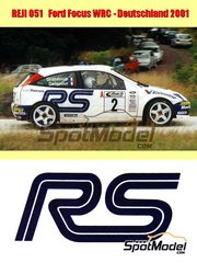 Reji Model: Marking / livery 1/24 scale - Ford Focus WRC Telefonica Movistar Valvoline #2 - Francois Delecour (FR) + Daniel Grataloup (FR) - ADAC Deutschland Rally 2001 - water slide decals and assembly instructions - for Tamiya reference TAM24241