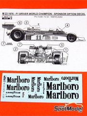 Reji Model: Marking / livery 1/20 scale - McLaren Ford M23 Marlboro Logos #11 - James Hunt (GB) - FIA Formula 1 World Championship 1976 - water slide decals and assembly instructions - for Tamiya references TAM20062 and 20062
