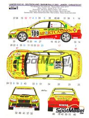 Reji Model: Decals 1/24 scale - Mitsubishi Lancer Evo VII  Sportcasinos #21, 109 - Jandik + Chrastecky - ADAC Deutschland Rally 2003 - for Heller reference 80734, or Tamiya reference TAM24257