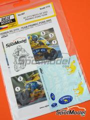 Reji Model: Marking / livery 1/12 scale - Honda RC211V Camel Pramac Pons - Alex Barros (BR), Max Biaggi (IT) - FIA Formula 1 World Championship 2003 - water slide decals and assembly instructions - for Tamiya kit TAM14095