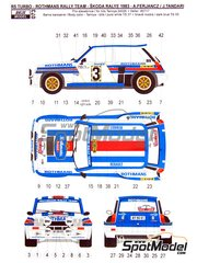 Reji Model: Marking / livery 1/24 scale - Renault R5 Turbo Rothmans #3 - Attila Ferjáncz (HU) + János Tandari (HU) - Rally Skoda 1983 - water slide decals and assembly instructions - for Heller reference 80717, or Tamiya references TAM24024 and TAM24027