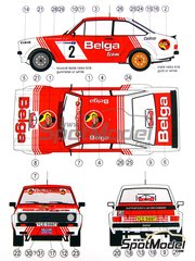 Reji Model: Decoración escala 1/24 - Ford Escort RS 1800  Belga Nº 2 - Robert Droogmans (BE) + Geron - Rally Skoda 1981 - calcas de agua y manual de instrucciones - para kit de Italeri 3655, o kit de Revell REV07374