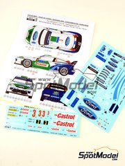 Reji Model: Marking 1/24 scale - Ford Focus WRC Castrol #3 - Toni Gardemeister (FI) + Jakke Honkanen (FI) - Tour de Corse, Rally d'Italia Sardinia 2005 - water slide decals and assembly instructions - for Hasegawa kits 20240 and 20263
