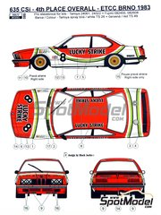 Reji Model: Marking / livery 1/24 scale - BMW 635 Csi Lucky Strike #8 - Michel Delcourt (BE) + Dany Swyssen (BE) + Jean-Marie Baert (BE) - Brno Grand Prix 1983 - water slide decals and assembly instructions - for Tamiya reference TAM24322