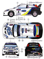 Reji Model: Marking / livery 1/24 scale - Ford Focus WRC #4, 5 - Markko Märtin (EE) + Michael Park (GB), François Duval (BE) + Stéphane Prévot (BE) - Argentina rally 2003 - water slide decals and assembly instructions - for Hasegawa kits 20222, 20240 and 20263