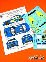 Reji Model: Marking 1/24 scale - Subaru Impreza WRC #7, 8 - Petter Solberg (NO) + Phil Mills (GB), Tommi Mäkinen (FI) + Kaj Lindström (FI) - Tour de Corse 2003 - water slide decals and assembly instructions - for Tamiya kit TAM24281