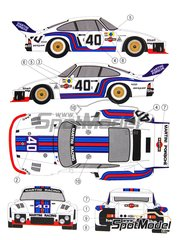 Reji Model: Marking / livery 1/20 scale - Porsche 935 Turbo Martini Racing #40 - Rolf Stommelen (DE) + Manfred Schurti (LI) - 24 Hours Le Mans 1976 - water slide decals and assembly instructions - for Tamiya references TAM20005 and TAM20008