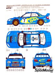 Reji Model: Marking / livery 1/24 scale - Subaru Impreza WRC 03 SWRT 555 #7, 8 - Petter Solberg (NO) + Phil Mills (GB), Tommi Mäkinen (FI) + Kaj Lindström (FI) - Acropolis rally 2003 - water slide decals and assembly instructions - for Tamiya reference TAM24276