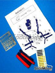 Reji Model: Seatbelts 1/12 scale - Formula One harnesses - photo-etched parts, seatbelt fabric and water slide decals