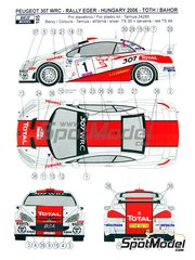 Reji Model: Marking / livery 1/24 scale - Peugeot 307 WRC Total #1 - János Jr. Tóth  (HU) + Bea Bahor (HU) - Hungary Rally 2006 - water slide decals and assembly instructions - for Tamiya reference TAM24285