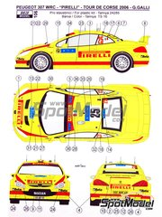 Reji Model: Marking / livery 1/24 scale - Peugeot 307 WRC Pirelli #25 - Gianluigi 'Gigi' Galli (IT) + Giovanni Bernacchini (IT) - Tour de Corse 2006 - water slide decals and assembly instructions - for Tamiya reference TAM24285