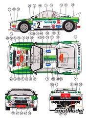 Reji Model: Marking 1/24 scale - Lancia 037 Rally Seven Up #2 - Salvador Serviá (ES) + Jordi Sabater (ES) - Catalunya Costa Dorada Rally 1986 - water slide decals and assembly instructions - for Hasegawa kits 20264, 25030 and HACR30