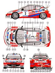 Reji Model: Marking / livery 1/24 scale - Peugeot 206 WRC Mobil 1 #2 - Janusz Kulig (PL) + Jaroslaw Baran (PL) - Antibes Rally 2002 - water slide decals and assembly instructions - for Tamiya kits TAM24226, TAM24236, TAM24255, TAM24262 and TAM24267