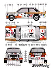 Reji Model: Decoración escala 1/24 -  Fiat 131 Abarth MS Italia Nº 8, 14 - Dario Cerrato (IT) + Lucio Guizzardi (IT), Attilio Bettega (IT) + Arnaldo Bernacchini (IT) - Rally de Montecarlo, Rally Tour de Corse 1980 - 1981 - calcas de agua, manual de instrucciones e instrucciones de pintado - para kit de Italeri ITA3690, o kit de Revell REV07311
