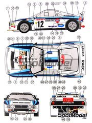 Reji Model: Marking 1/24 scale - Lancia 037 Rally Bendiberica #12 - Salvador Serviá (ES) + Jordi Sabater (ES) - Montecarlo Rally 1986 - water slide decals and assembly instructions - for Hasegawa kits 20264, 25030 and HACR30