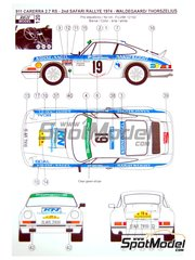 Reji Model: Marking 1/24 scale - Porsche 911 2.7 RS Nakufreight #19 - Björn Waldegård (SE) + Hans Thorszelius (SE) - Safari Rally 1974 - water slide decals and assembly instructions - for Fujimi kit FJ12152