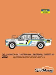 Reji Model: Marking / livery 1/24 scale - Fiat 131 Abarth #7 - Björn Waldegård (SE) + Hans Thorszelius (SE) - Montecarlo Rally - Rallye Automobile de Monte-Carlo 1980 - water slide decals, assembly instructions and painting instructions - for Italeri references 3662, ITA3662, 3662S, ITA3690 and 3690, or Revell references REV07311 and 07311