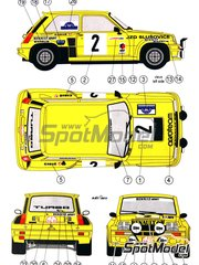 Reji Model: Marking / livery 1/24 scale - Renault 5 Turbo Agroteam #2 - Pavlik + Simek - Rallye Teplice 1984 - water slide decals and assembly instructions - for Heller reference 80717, or Tamiya references TAM24024 and TAM24027