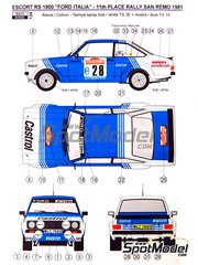 Reji Model: Marking / livery 1/24 scale - Ford Escort Mk. II RS 1800 Castrol #28 - Presotto + Perissutti - Sanremo Rally 1981 - water slide decals and assembly instructions - for Italeri references 3650 and 3655, or Revell references REV07374 and 7374