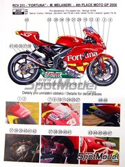 Reji Model: Marking / livery 1/12 scale - Honda RC211V Fortuna #33 - Marco Melandri (IT) - Motorcycle World Championship 2006 - water slide decals and assembly instructions - for Tamiya kit TAM14106