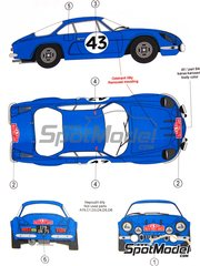 Reji Model: Marking / livery 1/24 scale - Renault Alpine A110 #3, 5, 7, 43 - Jean-Claude Andruet (FR) + Michel Vial (FR), Pierre Orsini (FR) + Jean-Baptiste Canonici (FR), Bernard Darniche (FR) + Bernard Demange (FR) - Montecarlo Rally, Tour de Corse 1968 and 1970 - water slide decals and assembly instructions - for Tamiya reference TAM24278