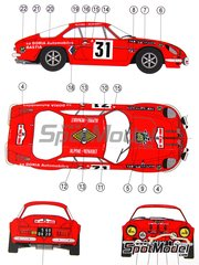 Reji Model: Marking / livery 1/24 scale - Renault Alpine A110 Doria Automoviles #31 - Jean-Pierre Manzagol (FR) + Jean-Pierre Oliva (FR) - Tour de Corse 1970 - water slide decals and assembly instructions - for Tamiya reference TAM24278