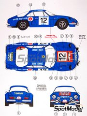Reji Model: Marking / livery 1/24 scale - Renault Alpine A110 beseda #12 - Hubacek + Minarik - Rally Skoda 1974 - water slide decals and assembly instructions - for Tamiya reference TAM24278