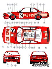 Reji Model: Marking / livery 1/24 scale - BMW 635 Csi Bastos Juma Racing #21 - Thierry Tassin (BE) + Hubert Hahne (DE) + Hans Heyer (DE) - 24 Hours SPA Francorchamps 1983 - water slide decals and assembly instructions - for Fujimi references FJ08245, 08245, FJ08260, 08260, FJ082608 and FJ24061, or Tamiya references TAM24061, 24061, TAM24322 and 24322