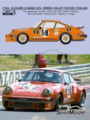 Reji Model: Marking / livery 1/24 scale - Porsche 934 Turbo RSR Group 4 Jagermeister Kremer #68 - Hervé Poulain (FR) + Edgar Dören (DE) + Gerhard Holup (DE) + Romain Feitler (LU) - 24 Hours Le Mans 1978 - water slide decals and assembly instructions - for Heller reference 80714, or Revell references REV07031 and REV07032, or Tamiya references TAM24328 and TAM24334 image