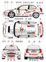 Reji Model: Marking / livery 1/24 scale - Toyota Corolla WRC Matador #1 - Václav Pech (CZ) - Rallysprint Praha 2006 and 2007 - water slide decals and assembly instructions - for Revell reference REV07362, or Tamiya reference TAM24209