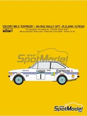 Reji Model: Marking / livery 1/24 scale - Ford Escort Mk. II Express #1 - Roger Clark (GB) + Stuart Pegg (GB) - RAC Rally 1977 - water slide decals and assembly instructions - for Italeri kit 3655, or Revell kit REV07374