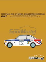 Reji Model: Marking / livery 1/24 scale - Ford Escort Mk. II British Airways #5 - Björn Waldegård (SE) + Hans Thorszelius (SE) - RAC Rally 1977 - water slide decals and assembly instructions - for Italeri reference 3655, or Revell reference REV07374