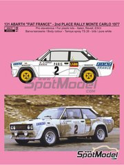 Reji Model: Marking / livery 1/24 scale - Fiat 131 Abarth Fiat France #2 - Jean-Claude Andruet (FR) + Michele 'Biche' Espinosi-Petit (FR) - Montecarlo Rally - Rallye Automobile de Monte-Carlo 1977 - water slide decals, assembly instructions and painting instructions - for Italeri references 3662, ITA3662, 3662S, ITA3690 and 3690, or Revell references REV07311 and 07311