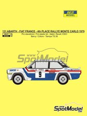 Reji Model: Decoración escala 1/24 - Fiat 131 Abarth Fiat France Nº 9 - Jean-Claude Andruet (FR) - Rally de Montecarlo - Rallye Automobile de Monte-Carlo 1979 - calcas de agua, manual de instrucciones e instrucciones de pintado - para las referencias de Italeri 3662, ITA3662, 3662S, ITA3690 y 3690, o las referencias de Revell REV07311 y 07311