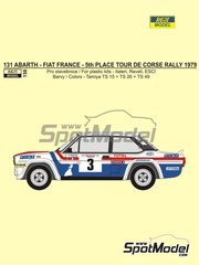 Reji Model: Marking / livery 1/24 scale - Fiat 131 Abarth Fiat France #3 - Michele Mouton  (FR) + Françoise Conconi (FR) - Tour de Corse 1979 - water slide decals, assembly instructions and painting instructions - for Italeri references 3662, ITA3662, 3662S, ITA3690 and 3690, or Revell references REV07311 and 07311