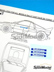 Reji Model: Marking / livery 1/24 scale - Lancia 037 Rothmans - Tour de Corse 1984 and 1985 - water slide decals and assembly instructions - for Hasegawa reference 25030