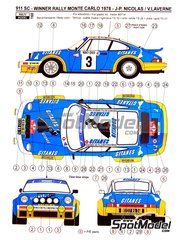 Reji Model: Marking / livery 1/24 scale - Porsche 911 SC Gitanes #3 - Jean-Pierre Nicolas (FR) + Vincent Laverne (FR) - Montecarlo Rally - Rallye Automobile de Monte-Carlo 1978 - photo-etched parts, resin parts, water slide decals and assembly instructions - for Heller reference 80714, or Tamiya references TAM24328, 24328, TAM24334 and 24334