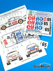 Reji Model: Marking / livery 1/24 scale - Porsche 934 Turbo RSR Group 4 ELF #65 - Marie-Claude Beaumont (FR) + Didier Pironi (FR) + Robert 'Bob' Wollek (FR) - 24 Hours Le Mans 1976 - water slide decals and assembly instructions - for Heller kit 80714, or Tamiya kits TAM24328 and TAM24334