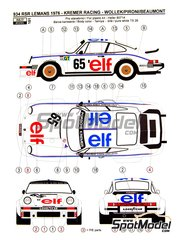 Reji Model: Marking / livery 1/24 scale - Porsche 934 Turbo RSR Group 4 ELF #65 - Marie-Claude Beaumont (FR) + Didier Pironi (FR) + Robert 'Bob' Wollek (FR) - 24 Hours Le Mans 1976 - photo-etched parts, water slide decals and assembly instructions - for Heller reference 80714, or Revell references REV07031 and REV07032, or Tamiya references TAM24328 and TAM24334