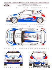 Reji Model: Marking / livery 1/24 scale - Peugeot 207 S2000 Delimax #7 - Pavel Valoušek (CZ) + Zdenek Hruza (CZ) - Bohemia rally 2011 - water slide decals and assembly instructions - for Belkits reference BEL-001