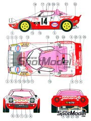Reji Model: Marking / livery 1/24 scale - Lancia Stratos HF Aseptogyl #14 - Christine Dacremont (FR) + Colette Galli (FR) - Montecarlo Rally 1977 - water slide decals and assembly instructions - for Hasegawa kits 20217, 20261, 20268, 20282, 25032, HACR32 and HACR33, or Italeri kit 3654