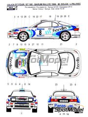 Reji Model: Marking / livery 1/24 scale - Toyota Celica GT-Four WRC Ricoh Harvilla #8 - Milan Dolák (CZ) + Jaroslav Palivec (CZ) - Barum Czech Rally 1996 - photo-etched parts, water slide decals and assembly instructions - for Tamiya references TAM24125 and 24125