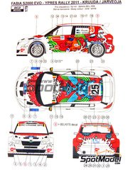 Reji Model: Decals 1/24 scale - Skoda Fabia S2000 Evo Total #25 - Kruuda + Jarveoja - Ypres Rally 2011 - for Belkits reference BEL-004