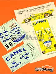 Reji Model: Marking / livery 1/24 scale - Porsche 962C Joest Racing Camel #8 - Robert 'Bob' Wollek (FR) - 500 Km Kyalami 1987 - water slide decals and assembly instructions - for Hasegawa references 20280, 20283, 20318, 20337, 20345, hsg20345, 4967834203457, HAS20345 and 20363, or Model Factory Hiro references MFH-K136 and K-136, or Profil24 reference P24010, or Revell references REV07251, 07251 and 80-7251, or SpotModel reference DISCONTINUED-022, or Tamiya references TAM24089, 24089, TAM24233, 24233, TAM24313 and 24313 image