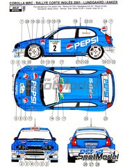 Reji Model: Marking / livery 1/24 scale - Toyota Corolla WRC Pepsi #2 - Henrick Lundgaard (DK) + Jens-Christian Anker (DK) - El Corte Ingles Rally  2001 - water slide decals and assembly instructions - for Hasegawa reference HASCR-24, or Revell reference REV07362, or Tamiya reference TAM24209